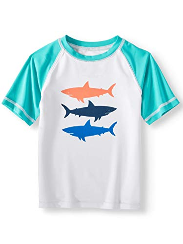 Boys Short Sleeved Shark Rash Guard Shirt - 4T White