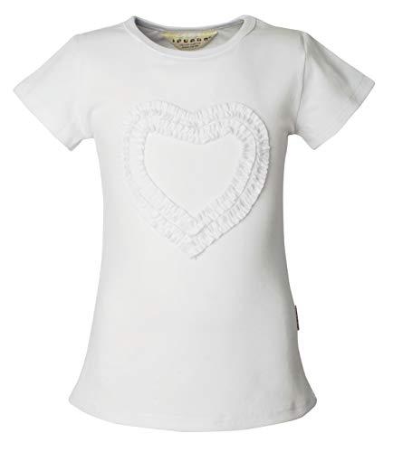 Ipuang Girls Heart-Shaped Short Sleeve T-Shirt White