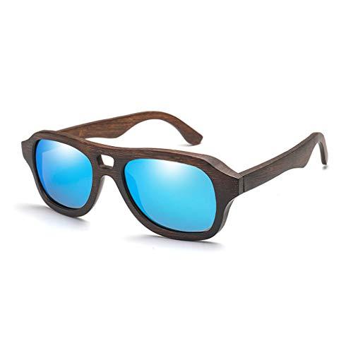 Hommes Bois Couleur Lunettes lentille Classiques Bleu de Couleur Soleil Femmes Lunettes et avec Film et Pilotes Bambou UV400 de Bleu Lunettes de Lunettes en pour Soleil polarisées Bambou 6gxfH0