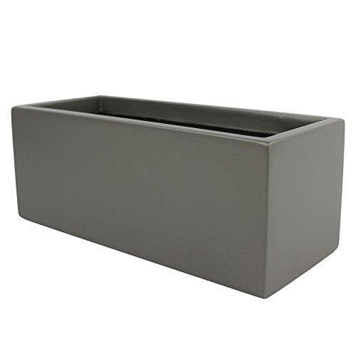 Brisbane Rectangle Fiberglass Planter Box (L:30'' x W:12'' x H:14'', Matellic Grey) by The Fiberglass Depot