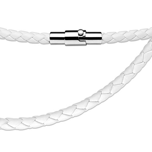 Spikes Leather Multi Weaved Necklace with Lockable Magnetic Closure (White)