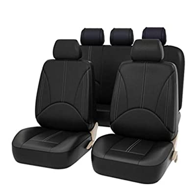 YZ-YUAN Universal Car Seat Covers Full Set Classic Black Airbag Compatible,Heavy Duty 9 Piece, Auto Interior Accessories