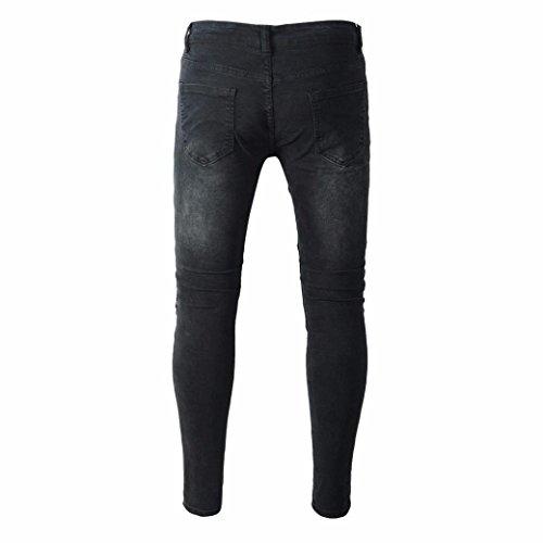 Xinan skinny tapered jeans pantalones pantalones hombre harem con pantalones vaqueros vaqueros largos deportivos bolsillos pantalón hippie slim rotos para hombres jeans fit Negro de hombre 11w5qUPr