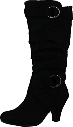 CC Maggie-38 Women Knee High Kitty Heels Wide Shaft Boots,Black,8