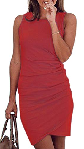 Faatoop Women's Short Sleeve Summer Bodycon Short Dress Casual Stretchy Ruched Crew Neck T Shirt Short Mini Dress (Wine Red, S)