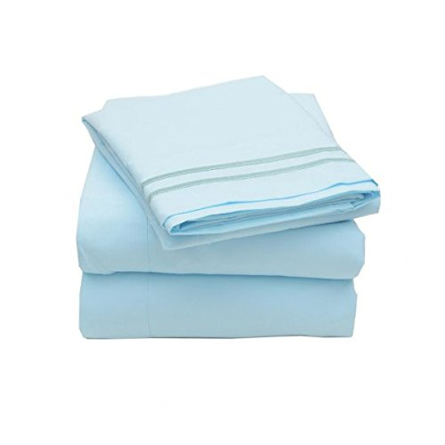 1500 Supreme Collection Extra Soft King Sheets Set, Light Blue - Luxury Bed Sheets Set With Deep Pocket Wrinkle Free Hypoallergenic Bedding, Over 40 Colors, King Size, Light Blue