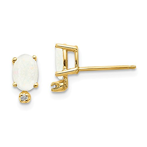 14k Yellow Gold Diamond Opal Birthstone Post Stud Earrings Ball Button October Fine Jewelry Gifts For Women For Her