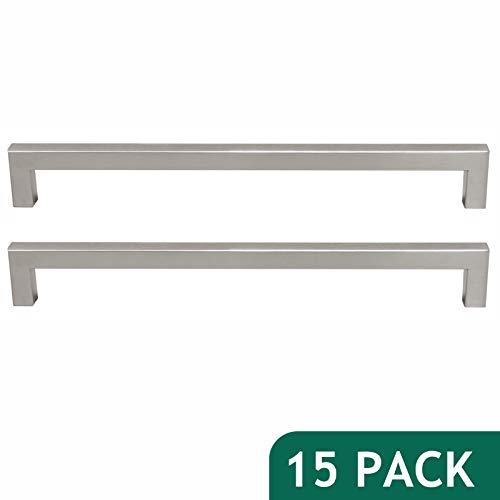 - 15 Pack Probrico Cabinet Handles Drawer Pulls Stainless Steel Square Kitchen Cupboard Handles and Pulls Brushed Nickel, Hole Distance 10