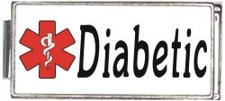 Diabetic White Medical Alert Italian Charm Superlink Bracelet Jewelry Link