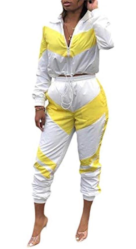 男ルビー東ティモールKeaac レディース2ピース衣装長袖カラーブロッククロップトップパンツトラックスーツセット