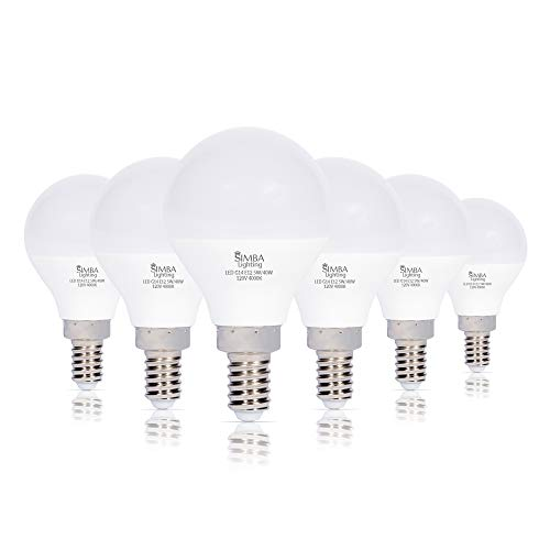 Simba Lighting LED Candelabra E12 Base G14 Small Globe 5W 40W Replacement Light Bulb (6 Pack) for Ceiling Fan, Chandelier, Vanity, Round A15 Frosted White Cover, Non-Dimmable, 4000K Natural Light