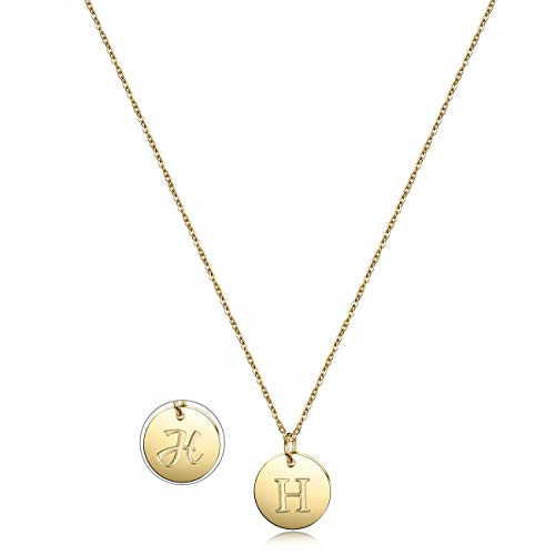 (Gold Initial Pendant Necklace 14K Gold Plated Disc Engraved 18