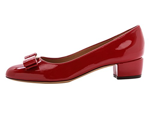 Aiyoway Womens Pumps Comfortable Patent Leather Bowtie Low Heel Thick Heel Pumps Shoes