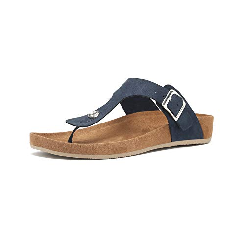 Women's T-Strap Thong Sandals Buckle Slip On Flip-Flops Beach Casual Platform Footbed Slippers (5, Navy)