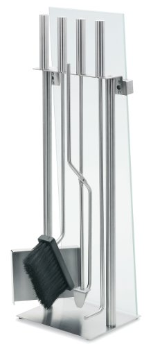 - Blomus 65130 Glass Front Fireplace Set Stainless Steel - 5 Pieces