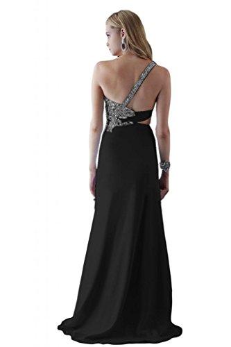 Toscana un-hombro elegante de la novia por la noche vestidos de dama de honor de ranura la gasa bola Prom vestidos de fiesta largo negro