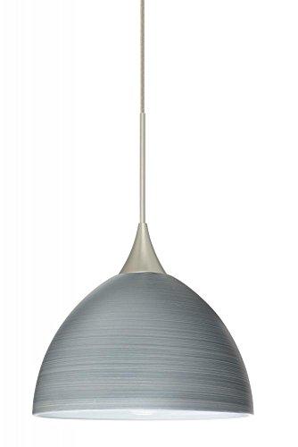 6 Led Monopoint Pendant - Besa Lighting 1XT-4679TN-LED-SN 1X6W Led Lightsource Brella Pendant with Titan Glass, Satin Nickel Finish