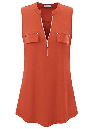 Bulotus Women's V-Neck Casual Tunic Tank Tops Zipper Sleeveless Blouse Shirt ()