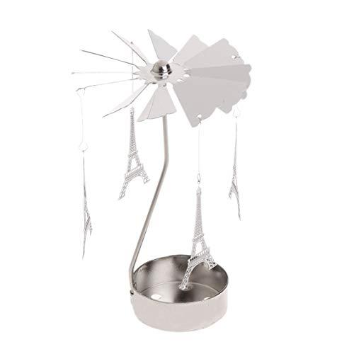 Flosky Rotary Spinning Tealight Candle Metal Tea Light Holder Carousel Home Decor Gifts (Eiffel - Holder Tower Tealight