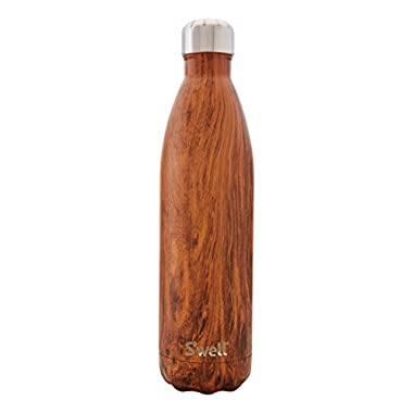 S'well Men's Wood Grain Large Stainless Steel Bottle, Teakwood, One Size