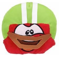 (RARE Club Penguin Red Puffle with Green Football Helmet 4