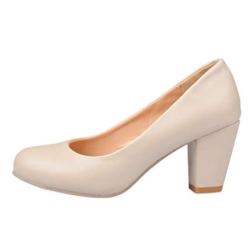 Orteils Grande des Peu Taille Ronde Femmes Hauts Chaussures Escarpins Profondes de de Pompes Talons Talons Simples l'automne Beige Printemps xnXFF7Zvq