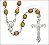 Mens or Boys Brown Wood Rosary, Perfect for RCIA, Confirmation, First Communion or Fathers Day!