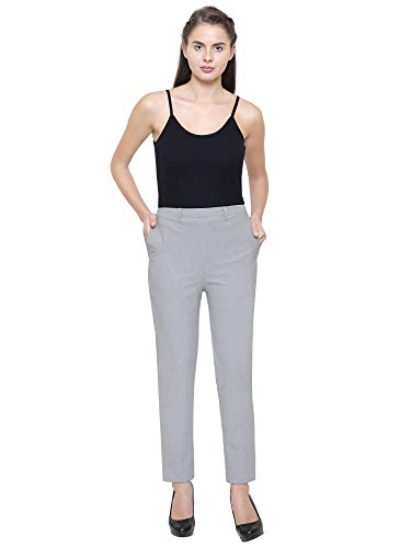 YOLKI Winter Pants for Women, Formal Trousers, Light Grey Color, Size : Large to -XL