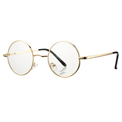 COASION Retro Small Round Circle Clear Lens Glasses Metal Frame Non-Prescription (A Gold, - Glasses With Round Face