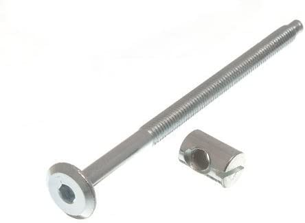 Pack Of 8 Furniture Cot Bed Bolt Allen Head With Barrel Nut 6Mm M6 X 100Mm Zp