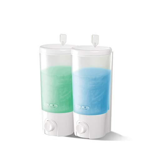 YSXZM Duo Soap Dispenser Wall Mounted Clear Conditioner Hotel Refillable Double-Head Manual Hand Shampoo and Conditioner Dispenser
