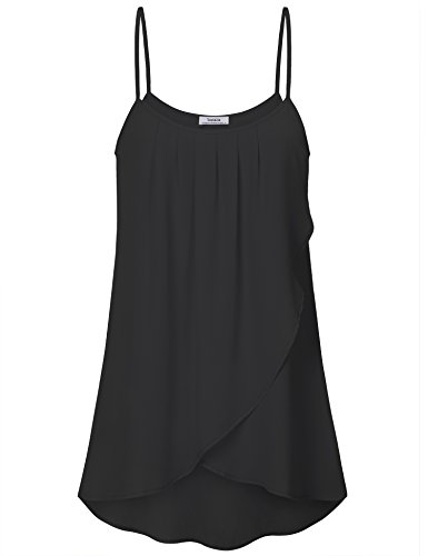 Youtalia Women's Tank Tops, Girls Summer Sleeveless Shirt Cool Spaghetti Strap Curve Hem Pleated Chiffon Blouses for Women, Black XL ()