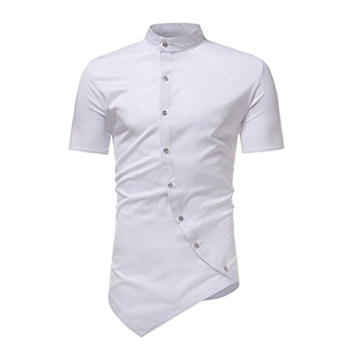 Realdo Mens Solid Asymmetry T-Shirt, Slim Short Sleeve Stand Collar Button Down Hem Splice Tops(White,X-Large)