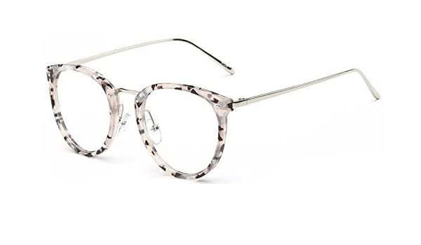 4e1ce867c GigaMax TM Round Eyewear With Clear Lens Unisex Glasses Frame Retro Vintage  Metal Eyeglasses Frame For Women Men's Goggles oculos de grau[ White Flower  ]