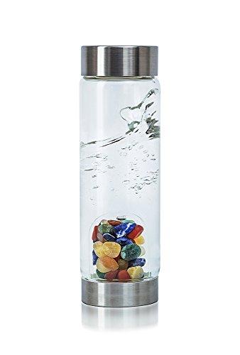 VitaJuwel Gemwater Infused Glass Bottle with Crystals Gemstone (Focus) - Handmade Orange Agate