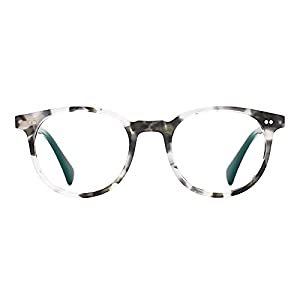 TIJN Vintage Eye-catching Keyhole Horn Rimmed Round Acetate Eyeglasses (Ashy, 47)