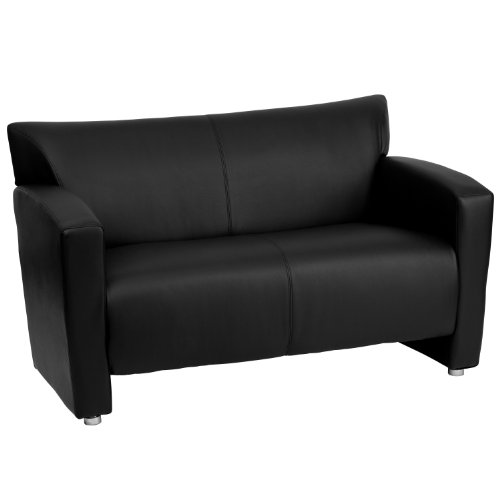 Modern Loveseat Black Leather (Flash Furniture HERCULES Majesty Series Black Leather Loveseat)
