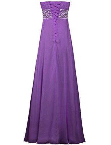 Chiffon ANTS Purple Strapless Gown Women's Evening Prom Long Dresses ErAE4q6