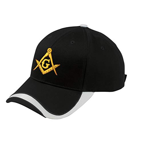 Gold Square & Compass Embroidered Masonic Sport Wave Adjustable Hat - (Black)