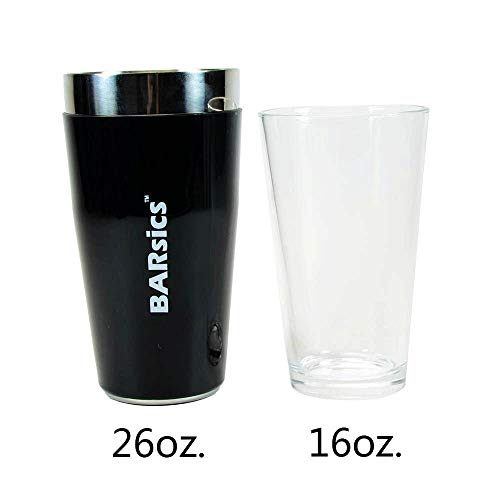 Dia Glass Top (Boston Cocktail Shaker, 16ounce Glass and 26ounce Stainless Steel with Rubber Sleeve)