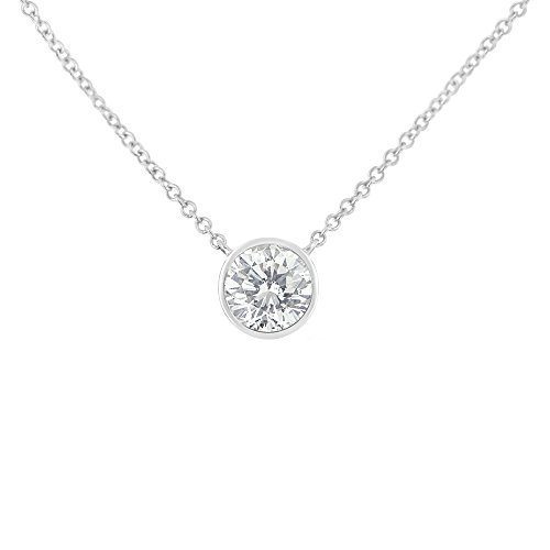 Original Classics 10k White Gold Bezel-Set Diamond Solitaire Pendant Necklace (0.3 cttw, H-I Color, SI2-I1 Clarity)