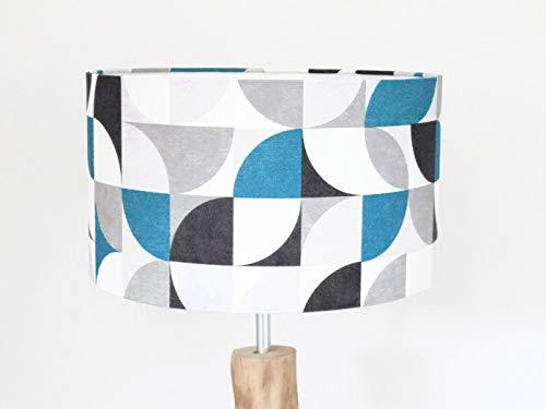 Abat Jour Motif Géométrique Rétro Vintage Scandinave Bleu Gris Luminaire  Chambre Bébé Cylindre Rond Idée