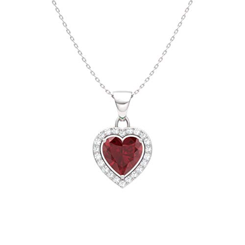 (Diamondere Natural and Certified Ruby and Diamond Heart Petite Necklace in 14k White Gold | 0.51 Carat Pendant with Chain)