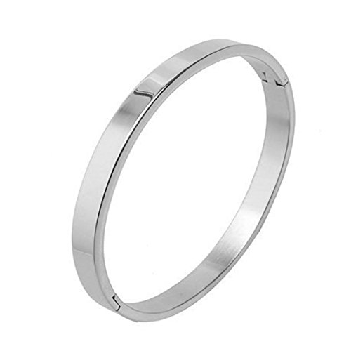 Solid Polished Weight - 7th Element Polished Stainless Steel Bracelet Classical Band Bangle for Womens (Silver,8mm 7.1inch)