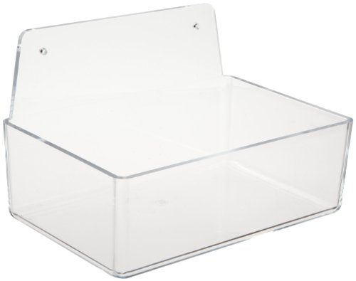 Brady PD205A 3'' Height, 9'' Width, 6'' Depth, Acrylic, Clear Dispenser Tray Without Lid, With 6'' Height, Backplate by Brady