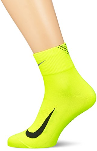 NIKE Dry Elite Quarter Socks Volt Black Reflect Silver Size M