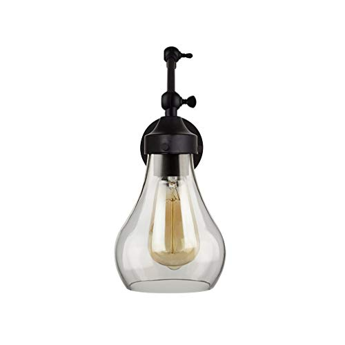 Stone & Beam Industrial Textured Glass Adjustable Wall Sconce with Bulb, 14.88