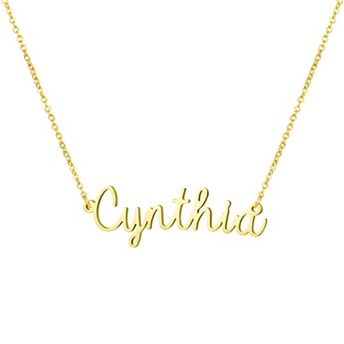 Awegift Personalized Name Necklace 18K Gold Plated New Mom Bridesmaid Gift Jewelry for Cynthia ()