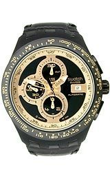 Swatch Right Track Black Dial Plastic Leather Chrono Quartz Ladies Watch SVGB401