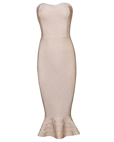 Dress Strapless Below Women's Bandage Falbala Knee Rayon Whoinshop Khaki Hq04An